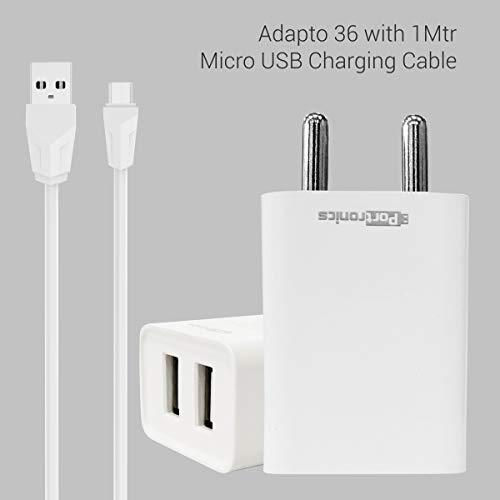 Portronics Adapto 36 USB Wall Adapter with 2.1A Quick Charging Dual USB Port + Micro USB Charging Cable for All iOS & Android Devices (White) 165