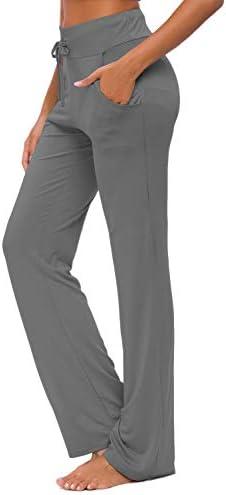 Womens Yoga Pants with Pockets Straight-Leg Loose Comfy Modal Drawstring Lounge Running Long Active Casual Sweatpants 1