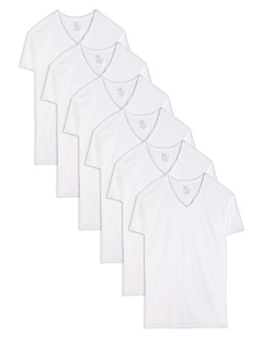 Fruit of the Loom Men's Stay-Tucked V-Neck T-Shirt, White (6 Pack) - Tall Sizes, X-Large