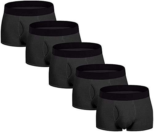 Aserlin Men's Underwear 5 Pack Underwear Boxer Briefs Cotton Mens Boxer Briefs No Ride-up Underwear Men Pack-S-5B-Fly-S