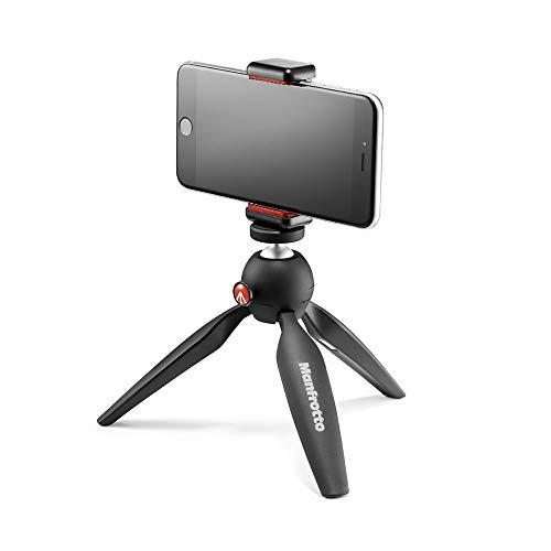 Manfrotto-PIXI-Mini-Tripod-Kit-with-Universal-Smartphone-Clamp-Black-MKPIXICLAMP-BK