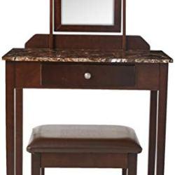 Crown Mark Iris Vanity Table/Stool, Espresso Finish