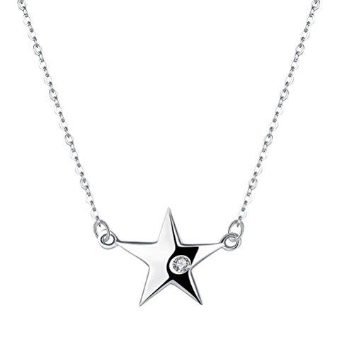 Fenical S925 Sterling Silver Necklace Simple Star Pendant Necklace Accesorio de la joyería para...