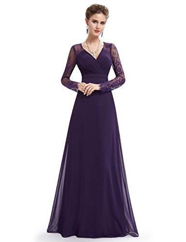 "31tZGw32RfL Detailed Size Info Please Check Left Image, Not Size Info Link. It is US Size when you place order. Women""s elegant V-neck long sleeve evening party dress. Padded enough for ""no bra"" option."