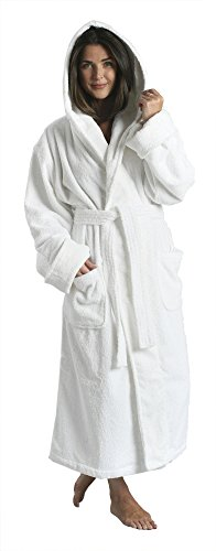 Hooded Unisex Terry Cloth Bathrobe - 100% Combed 52' Luxuriously Oversized Cotton Long Robes for Women or Men, The Five-Star Hotel & Resorts Choice for 3 Decades White