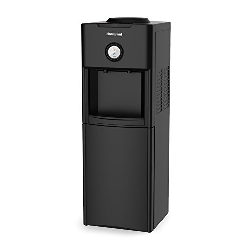 Honeywell HWB1062B Top Loading Dispenser-Two Temperature Settings-Hot & Cold Water Cooler With Cabinet-Holds 3 or 5 Gallon Bottles-Innovative Slim Design-34-Inch, Black, 34-Inch