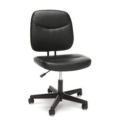 OFM Essentials Collection Armless Leather Desk Chair, in Black