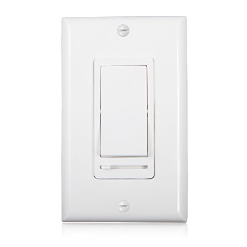 Maxxima 3-Way/Single Pole Decorative LED Slide Dimmer Rocker Switch Electrical light Switch 600 Watt max, LED Compatible, Wall Plate Included