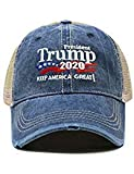 ChoKoLids Trump 2020 Keep America Great Campaign Embroidered USA Hat | Baseball Bucket Trucker Cap (Distressed Trucker TC102 Navy)