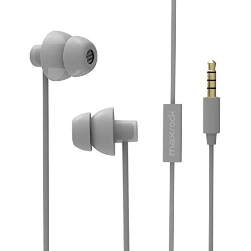 MAXROCK Sleeping Headphones, in-Ear Soundproof Earplug Soft Earbuds with Mic Noise Cancelling Sleep Earphones Earpods for Side Sleeper, Insomnia, Snoring, Air Travel, Bedtime Listening... (Gray)