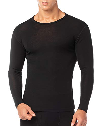 Lapasa Mens 100% Merino Wool Base Layer Thermal Shirt Underwear Long Sleeve Crew Neck Thermal Top M29, Black, X-Large