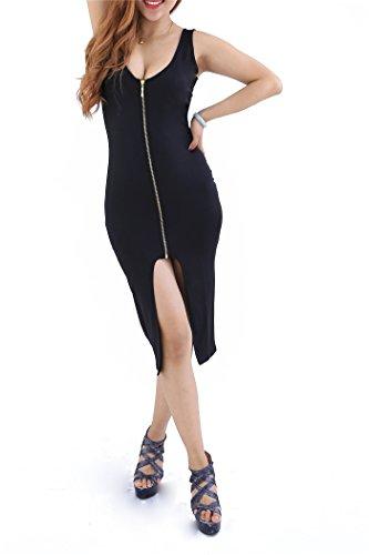 Yming Women Sexy Front Zipper Bodycon Bandage Midi Evening Dress