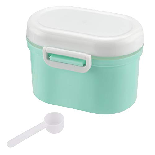 Portable Formula Dispenser with Scoop by Accmor, BPA Free Milk Powder Container, Food Storage, Candy Fruit Box, Snack Containers, for Infant Toddler Children Travel (Green)