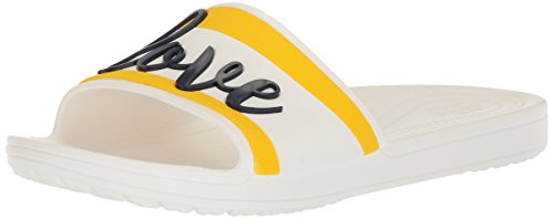 "31vZ0CzuguL Exclusive Drew Barrymore ""Love"" graphics on the upper of slide Incredibly light and versatile; for beach, pool, travel and beyond Iconic Crocs ComfortTM: Lightweight. Flexible. 360-degree comfort"