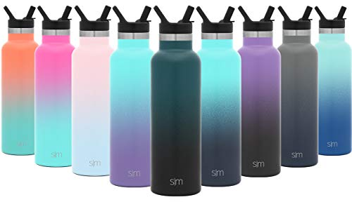 Simple Modern 32oz Ascent Water Bottle with Straw Lid Stainless Steel Hydro Tumbler Flask - Double Wall Vacuum Insulated Hydro Small Reusable Metal Leakproof Ombre: Moonlight