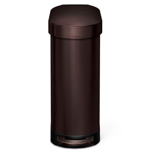simplehuman Slim Step Trash Can with Liner Rim, Dark Bronze Stainless Steel, 45 L / 12 Gal