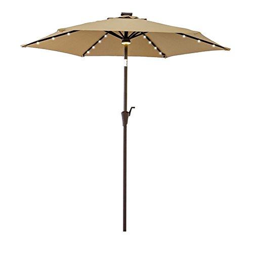 FLAME&SHADE 10' LED Light Cantilever Offset Umbrella, Hanging Patio Umbrella with Solar Panel, Crank Lift, Large Round, Navy Blue