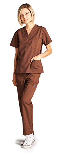 Dagacci Medical Uniform Girl and Man Scrub Set Unisex Medical Scrub Prime and Pant, BROWN, S deal 50% off 31w4dtuA6sL