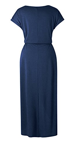 31wHwo56IVL Bust Size: (S)--37.80 inch; (M)--39.37 inch; (L)--40.94 inch; (XL)--42.52 inch Slit Maxi Dress, Sexy Split Design, Belted Waist, Jersey Long Dress, Cap Sleeve Suitable for vacation, work, party, wedding, club, homecoming, beach or casual wear