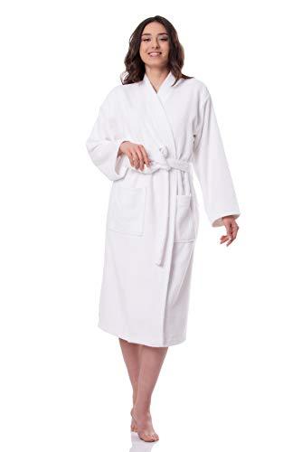 SelecTTowels Women's Luxury Robe Turkish Cotton Terry Kimono Style Bathrobe Made in Turkey (XS/S, White)