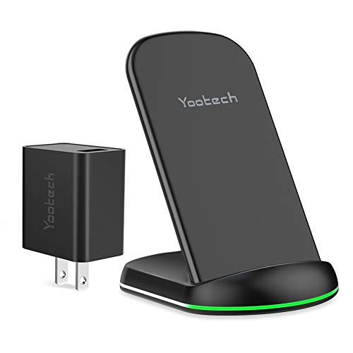 Yootech Wireless Charger, Qi-Certified Wireless Charging Stand with Quick Adapter,Compatible with iPhone XR/Xs Max/XS/X/8/8 Plus, 10W Fast Charging Galaxy S10/S10 Plus/S10E/S9(Quick Adapter Included)