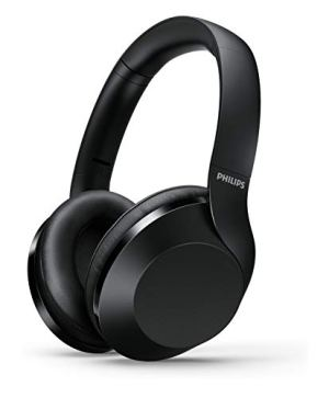 Philips Performance TAPH802BK Hi-Res Audio Bluetooth 5.0 Over-Ear Headphones with Quick Charge, 30 Hour Play Time, Multi-Function Button, 40 mm Drivers and Built-in Mic with Echo Cancellation (Black)