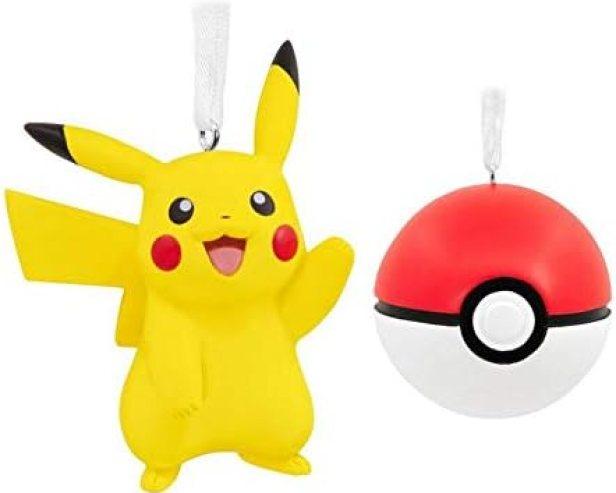 Ornaments Christmas Pokemon Pikachu and Poke Ball Set