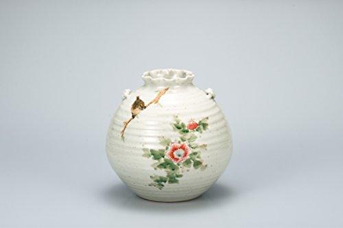 """Japanese drawn Ceramic Porcelain kutani ware. Japanese Ikebana flower vase. Flower and bird."""" Japanese ceramic Hagiyakiya 1046"""