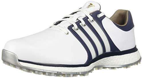 adidas Men's TOUR360 XT Spikeless Golf Shoe, FTWR White/Collegiate Navy/Gold Metallic, 9.5 W US