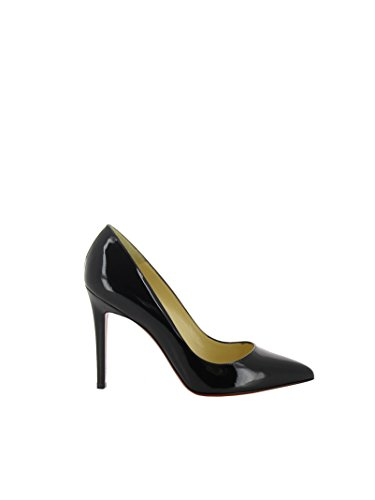 31zKyN5FJlL PUMPS CHRISTIAN LOUBOUTIN, PATENT LEATHER 100%, color BLACK, Heel 100mm, Leather sole, PIGALLE, SS17, product code 3080680BK01 SS17