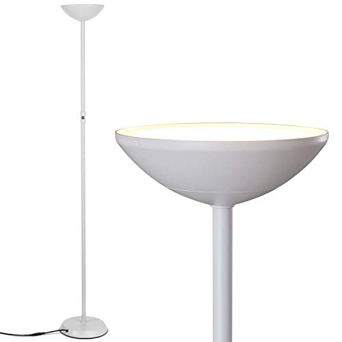 Brightech SkyLite - Bright LED Torchiere Floor Lamp for Offices - Modern, Dimmable Reading Light for Living Rooms & Bedrooms - Tall Standing Pole Light - White