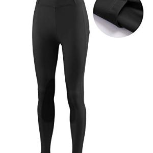 BALEAF Women's Horse Riding Pants Equestrian Breeches Tights Belt Loops Pockets Knee-Patch Active Legging UPF50+
