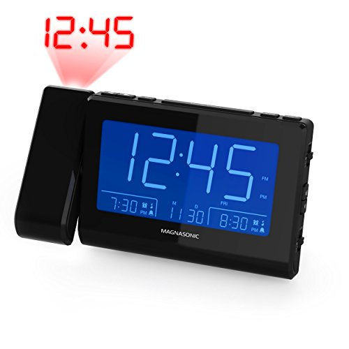 Magnasonic Alarm Clock Radio with Time Projection, Auto Dimming, Battery Backup, Dual Gradual Wake Alarm, Auto Time Set, Large 4.8' LED Display, AM/FM (CR62)