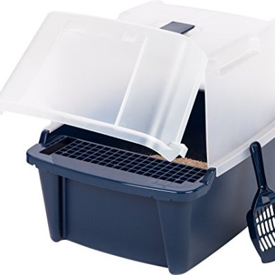 IRIS USA Large Split-Hood Litter Box with Scoop and Grate, Blue...