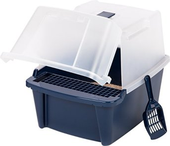 IRIS-Large-Split-Hood-Litter-Box-with-Scoop-and-Grate-Navy-blue