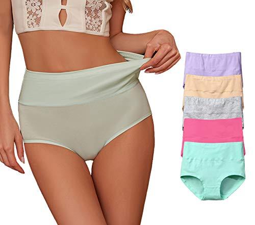 X-Nomiy Women's Soft Cotton Underwear Panties,High Waist Comfortable Brethable Hipster Briefs 5 Pack