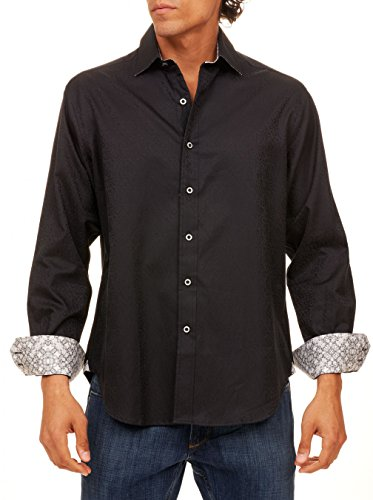 41%2B7NnQgN8L Long sleeves with double barrel cuffs Robert Graham collar stays Shirttail hem