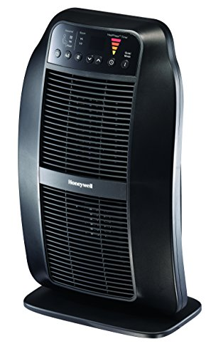 Honeywell HCE840B HeatGenius Ceramic Heater Black Energy Efficient 1500 Watt Custom Comfort with 6 Heat Settings, Quiet Mode & Auto-Off Heat Phase Timer for Home, School or Office