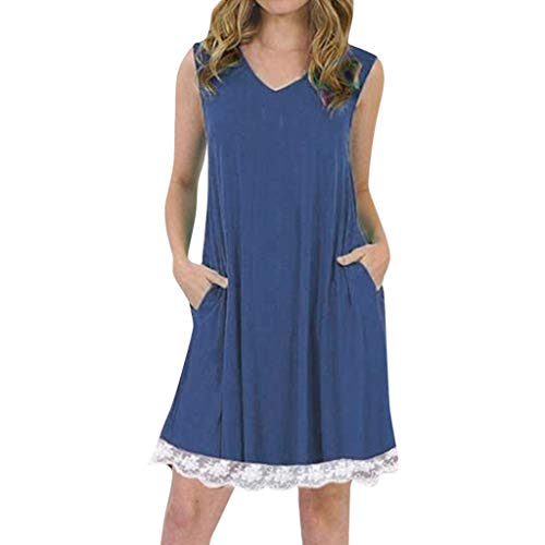 Xinantime Womens Summer Casual Lace Dress Sexy Loose Tops Sleeveless A-Line Pleated Dress Navy