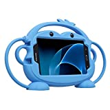 Kids Case for Samsung Galaxy Tab 3/3 Lite/4/E Lite 7.0 inch Tablet - CHINFAI [Double-Faced Monkey Series] Shock Proof Handle Stand Protective Cover Compatible with Model P3200 SM-T230 SM-T113 (Blue)