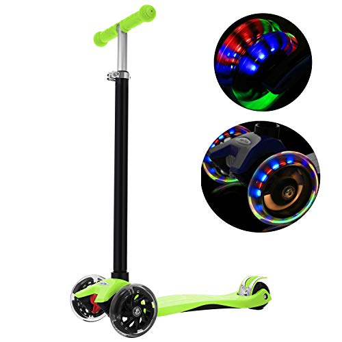 WeSkate Kick Scooter for Kids 3 Wheels, Adjustable Height Kids Scooter for Boys and Girls 3-12, LED Light Flashing PU Wheels