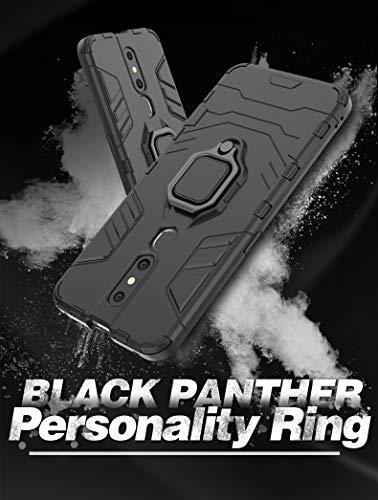 Casodon Back Cover Kickstand View Ring Holder Armor Case for Oppo F11 Pro (Black) 3