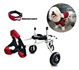 Dog Wheelchair,Pet cart,Suitable for Big Small Dogs Cat Puppy Hind Legs Rehabilitation Handicapped Disabled Paralysis Injured Assist Walking,Adjustable,2 Wheels,1kg (2.2lbs)-50kg (110lbs) Pound