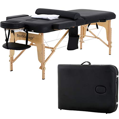 Massage Table Massage Bed SPA Bed 2 Fold Massage Table Heigh Adjustable 73'' Long PU Portable Salon Bed W/Half Bolsters Sheets Carry Case