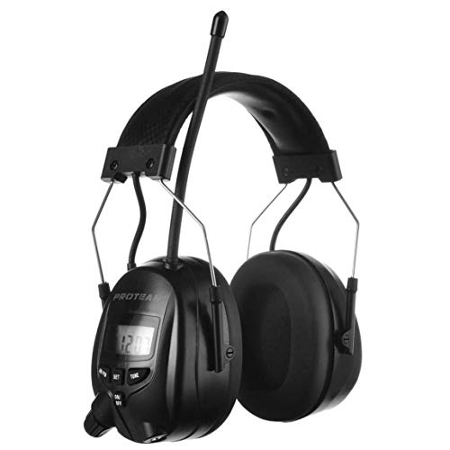 PROTEAR-AM-FM-Hearing-Protector-Ear-Protection-for-Mowing-Snowblowing-Construction-Work-Shops-25dB-NRR-Black