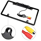 GTP Vehicle Backup Camera License Plate Frame Rear View Wide Angle Parking Assist Kit - Waterproof Nigh Vision High Sensitive IR LED