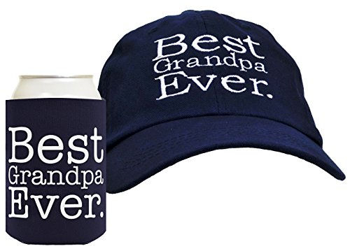 Best Grandpa Ever 2-Piece Hat Cap and Coolie Gift Set Bundle,Navy,One Size