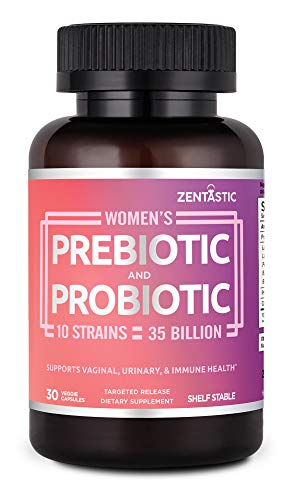 Zentastic Women's Probiotic & Prebiotic Supplement with Cranberry - 35 Billion CFU - Vaginal, Immune & Digestive Health - 10 Strains - Shelf Stable - 30 Delayed Release Veggie Capsules