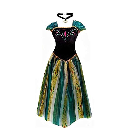 Big-On-Sale Princess Adult Women Anna Elsa Coronation Dress Costume Cosplay (XL Size for 14-16) Green