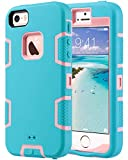 ULAK Case for iPhone SE/5S/5, Knox Armor Heavy Duty Shockproof Sport Rugged Drop Resistant Dustproof Protective Case Cover for Apple iPhone 5 5S SE,Coral Blue